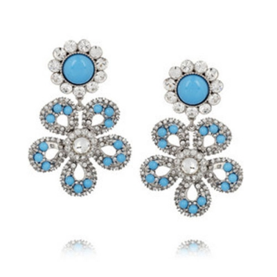 Swarovski crystal flower clip earrings