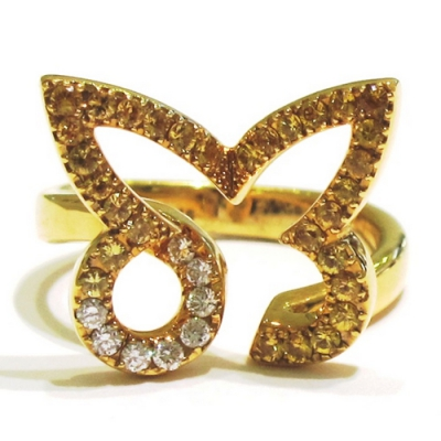 Yellow Gold and Yellow Sapphire Butterfly Ring